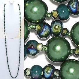 "Necklace Lariat 60"" Crystal Oval Round Beads Green ZN022"