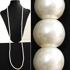 "51"" 8mm Lariat Necklace Smooth Beads Ivory Cream White ZN023"