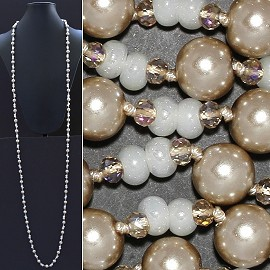 "Necklace Lariat 60"" Crystal Oval Round Beads Bronze White ZN025"