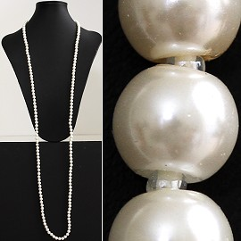 "52"" 8mm Lariat Necklace Smooth Beads White, 2mm Clear ZN026"