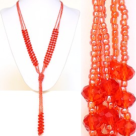 Necklace Lariat Crystal Bead Orange ZN031