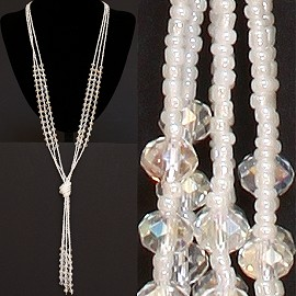 Necklace Lariat Crystal Bead Clear White Aura ZN032