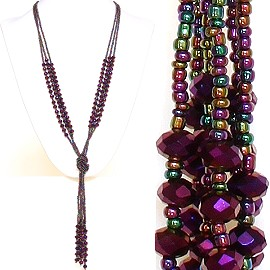 Necklace Lariat Crystal Bead Purple Multi Color ZN034