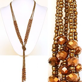 Necklace Lariat Crystal Bead Gold ZN036