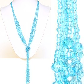 Necklace Lariat Crystal Bead Light Turquoise ZN037