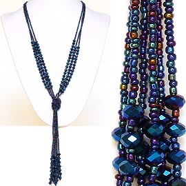 Necklace Lariat Crystal Bead Dark Blue Multi Color ZN038