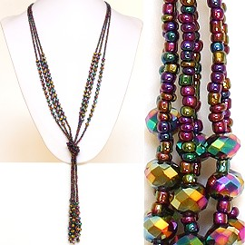 Necklace Lariat Crystal Bead Aurora Borealis Gold Green Pu ZN039