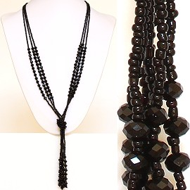 Necklace Lariat Crystal Bead Black ZN041