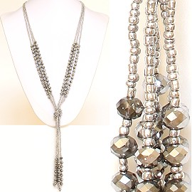 Necklace Lariat Crystal Bead Silver ZN042
