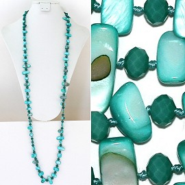 "44"" Lariat Necklace Oval Crystal Rectangle Stone Turquoise ZN046"