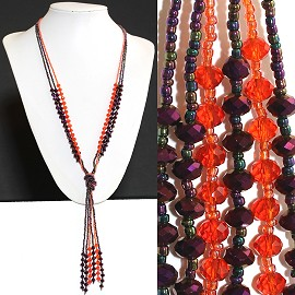 Necklace Lariat Crystal Bead Red Purple ZN049