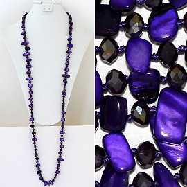 "44"" Lariat Necklace Oval Crystal Rectangle Stone Dk Purple ZN051"
