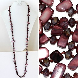 "44"" Lariat Necklace Oval Crystal Rectangle Stone Purple ZN052"