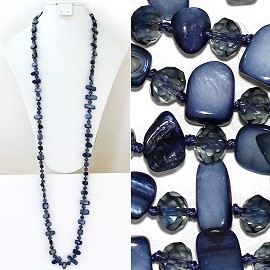 "44"" Lariat Necklace Oval Crystal Rectangle Stone Bead Blue ZN053"