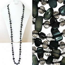 "44"" Lariat Necklace Oval Crystal Rectangle Stone Dk Green ZN056"