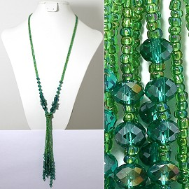 Necklace Lariat Crystal Bead Teal Dark Green AB Color ZN059