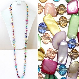 "44"" Lariat Necklace Oval Crystal Rectangle Stone Pastel Mu ZN060"