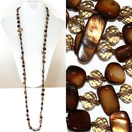 "44"" Lariat Necklace Oval Crystal Rectangle Stone Brown ZN062"
