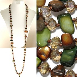 "44"" Lariat Necklace Oval Crystal Rectangle Stone Green Bro ZN063"
