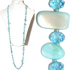 "44"" Lariat Necklace Oval Crystal Mix Stone Bead Turquoise ZN065"
