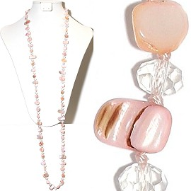 "44"" Lariat Necklace Oval Crystal Mix Stone Bead Pink Clear ZN072"