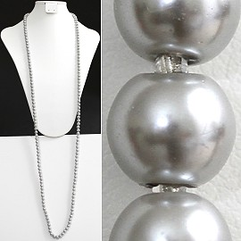 "52"" 8mm Lariat Necklace Smooth Beads Silver, 2mm Clear ZN075"