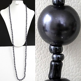 "52"" 8mm Lariat Necklace Smooth Beads, 2mm Dark Gray zn077"