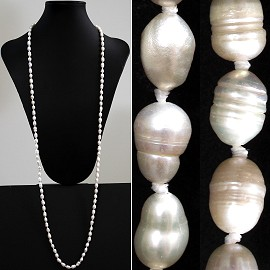 "46"" 9mm Lariat Necklace Freshwater Pearl Beads Ivory White ZN079"