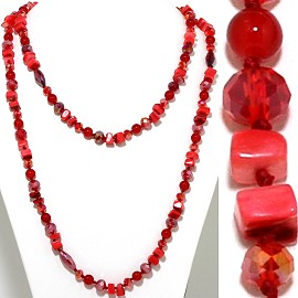 "48"" Lariat Necklace Square Stone Oval Crystal Bead Red ZN082"