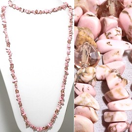 "46"" Lariat Necklace Mini Stone Shards Oval Crystal Pink ZN093"