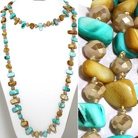 "46"" Lariat Necklace Flat Stone Oval Crystal Bead Mix Tan T ZN097"