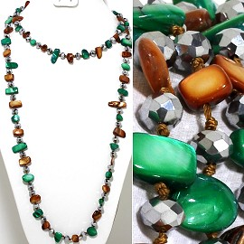 "46"" Lariat Necklace Flat Stone Oval Crystal Bead Green Bro ZN098"