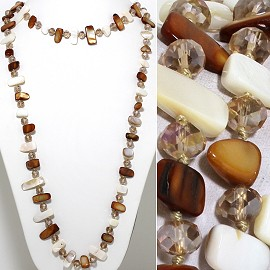 "46"" Lariat Necklace Flat Stone Oval Crystal Bead Mix TanBW ZN099"