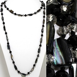 "46"" Lariat Necklace Mix Shape Shell Crystal Bead Black Cle ZN106"