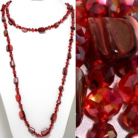 "46"" Lariat Necklace Mix Shape Shell Crystal Bead Red Maroo ZN108"