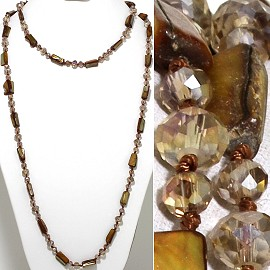 "46"" Lariat Necklace Rectangle Shell Crystal Bead Tan Clear ZN109"