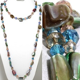 "46"" Lariat Necklace Block Shell Crystal Bead Mix Color ZN110"