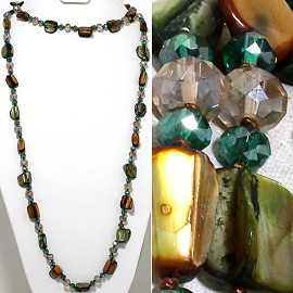 "46"" Lariat Necklace Rectangle Shell Crystal Bead Teal Brow ZN111"