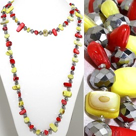 "46"" Lariat Necklace Flat Stone Crystal Bead Red Yellow Sil ZN113"