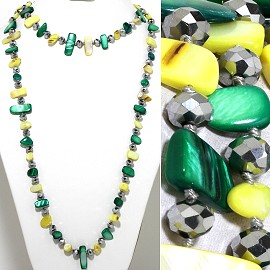 "46"" Lariat Necklace Flat Stone Crystal Bead Green Yellow S ZN114"