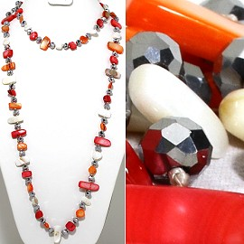 "46"" Lariat Necklace Flat Stone Crystal Bead Mix Red Orange ZN118"