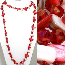 "46"" Lariat Necklace Flat Stone Crystal Bead Red White ZN121"
