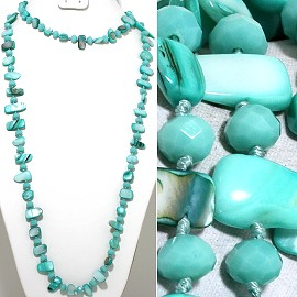 "46"" Lariat Necklace Flat Stone Shell Crystal Bead Turquois ZN122"
