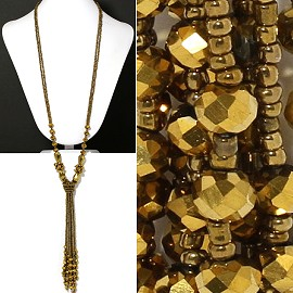 Seed Bead Crystal Gold Necklace ZN134
