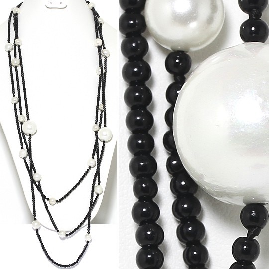 Necklace Lariat 3-Line Smooth Beads 4mm Black 20mm White ZN141