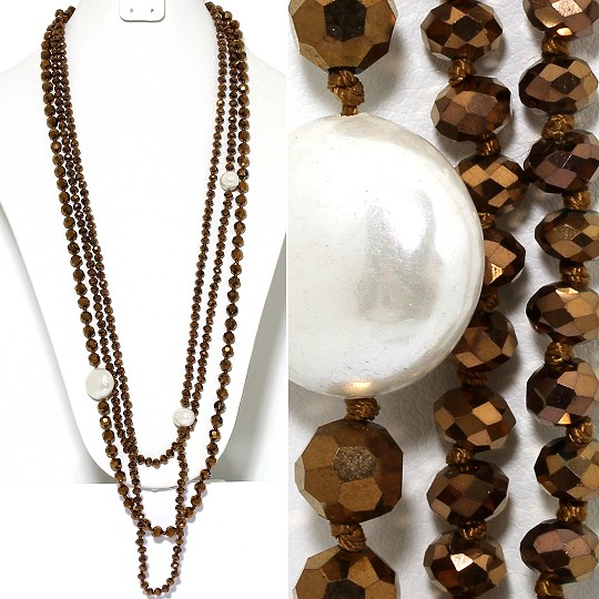 Necklace Lariat 3-Line Crystal And Lg Smooth Beads Bronze ZN144