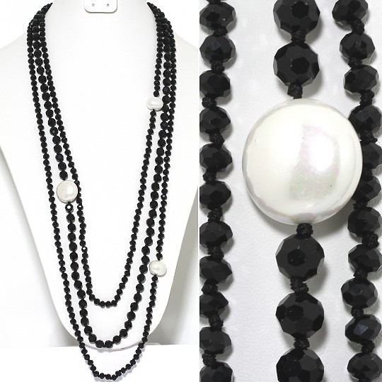 Necklace Lariat 3-Line Crystal And Lg Smooth Beads Black ZN146