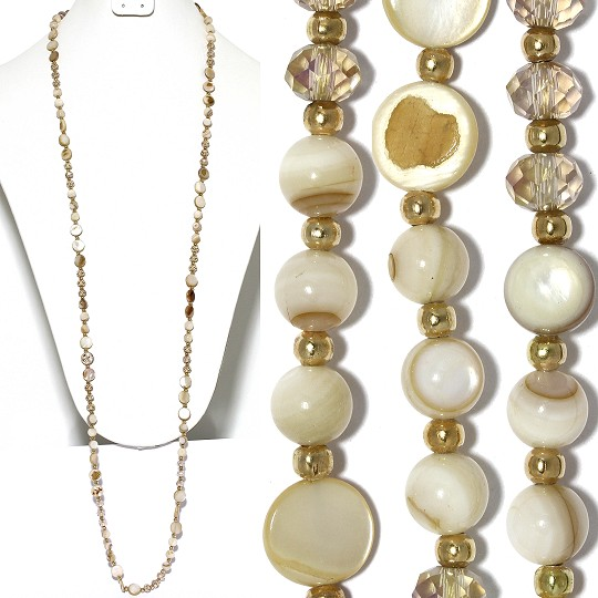 "Lariat Necklace +- 40"" Mix Beads Crystals Gold Ivory Tan ZN147"