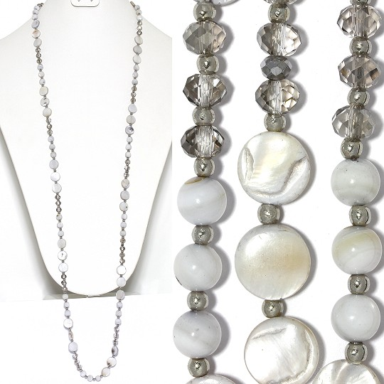 "Lariat Necklace +- 40"" Mix Beads Crystals Silver Gray Whit ZN150"