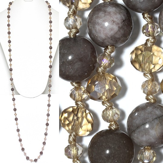 "Lariat Necklace +- 48"" Crystal Marble Bead Maroon Gray Tan ZN155"